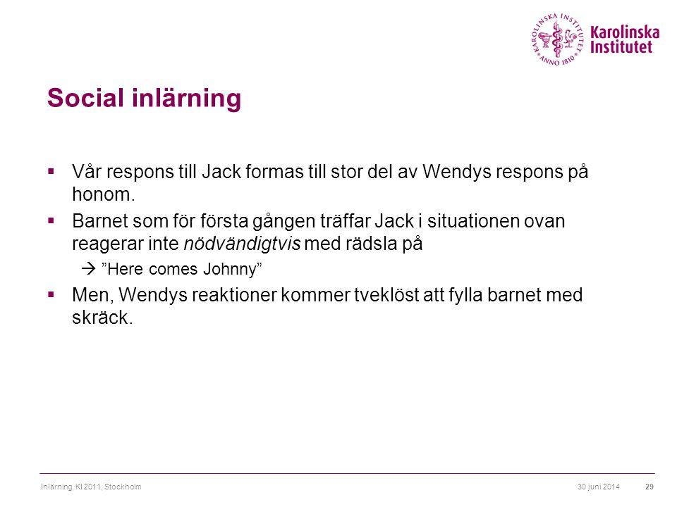 30 juni 2014Inlärning, KI 2011, Stockholm29 Social inlärning  Vår respons till Jack formas till stor del av Wendys respons på honom.  Barnet som för
