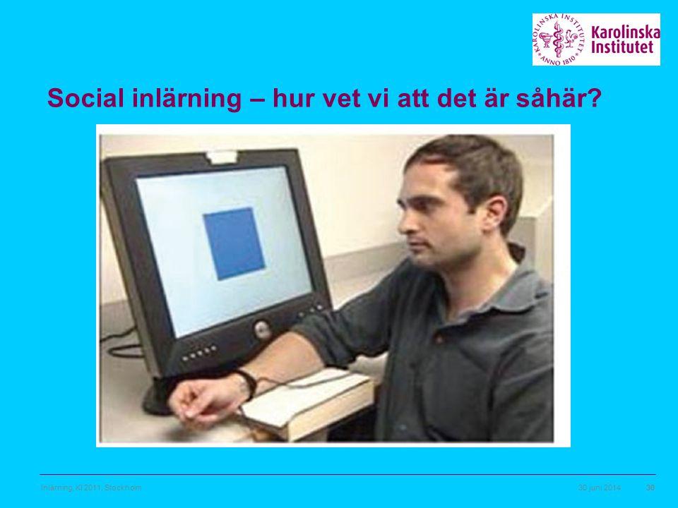 30 juni 2014Inlärning, KI 2011, Stockholm30 Social inlärning – hur vet vi att det är såhär?