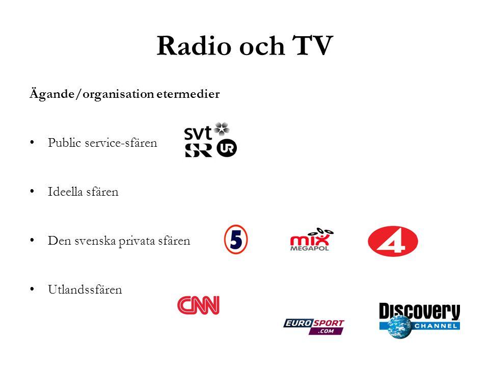 Radio och TV Ägande/organisation etermedier •Public service-sfären •Ideella sfären •Den svenska privata sfären •Utlandssfären