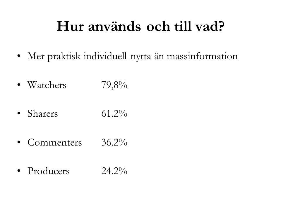 Hur används och till vad? •Mer praktisk individuell nytta än massinformation •Watchers 79,8% •Sharers 61.2% •Commenters 36.2% •Producers 24.2%
