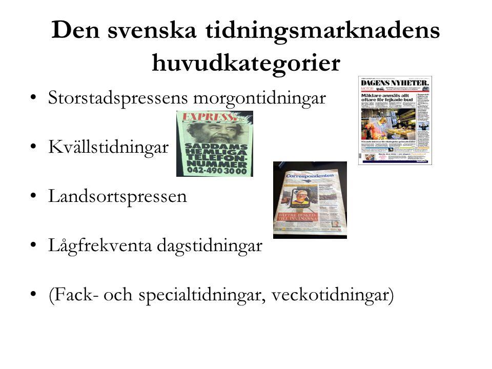 Den svenska tidningsmarknadens huvudkategorier •Storstadspressens morgontidningar •Kvällstidningar •Landsortspressen •Lågfrekventa dagstidningar •(Fac
