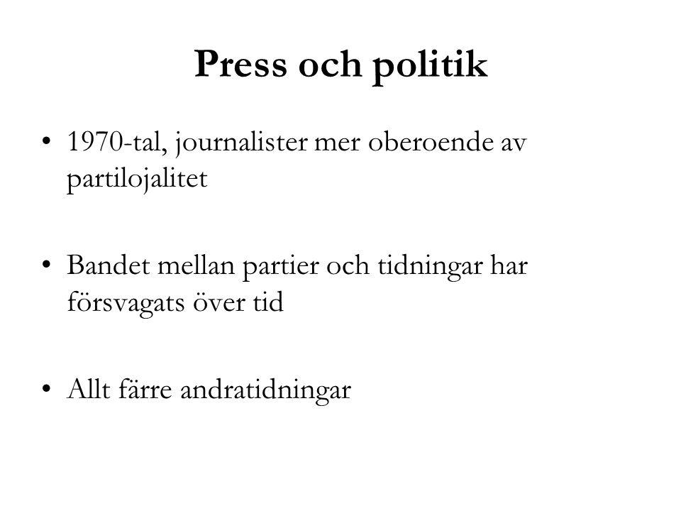 Press och politik •1970-tal, journalister mer oberoende av partilojalitet •Bandet mellan partier och tidningar har försvagats över tid •Allt färre and