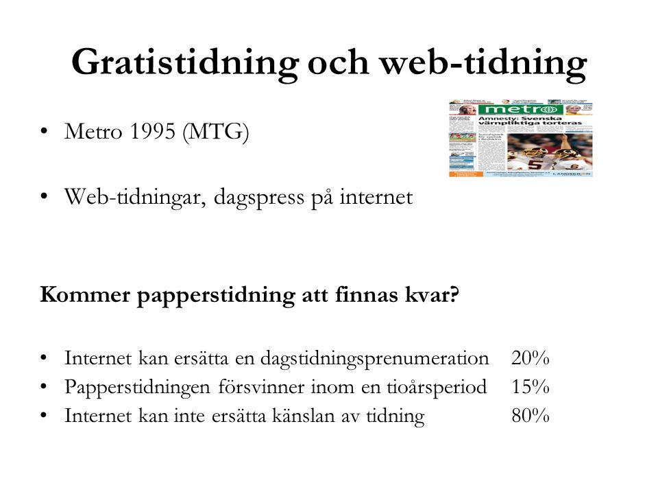 Gratistidning och web-tidning •Metro 1995 (MTG) •Web-tidningar, dagspress på internet Kommer papperstidning att finnas kvar? •Internet kan ersätta en