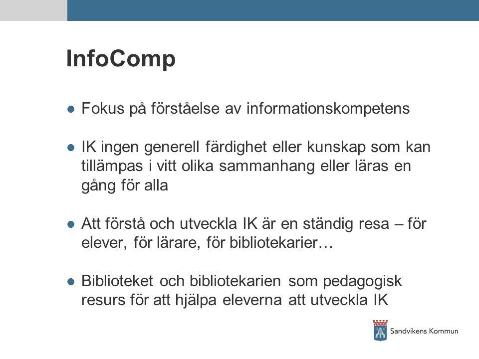 InfoComp  Fokus på förståelse av informationskompetens  IK ingen generell färdighet eller kunskap som kan tillämpas i vitt olika sammanhang eller läras en gång för alla  Att förstå och utveckla IK är en ständig resa – för elever, för lärare, för bibliotekarier…  Biblioteket och bibliotekarien som pedagogisk resurs för att hjälpa eleverna att utveckla IK