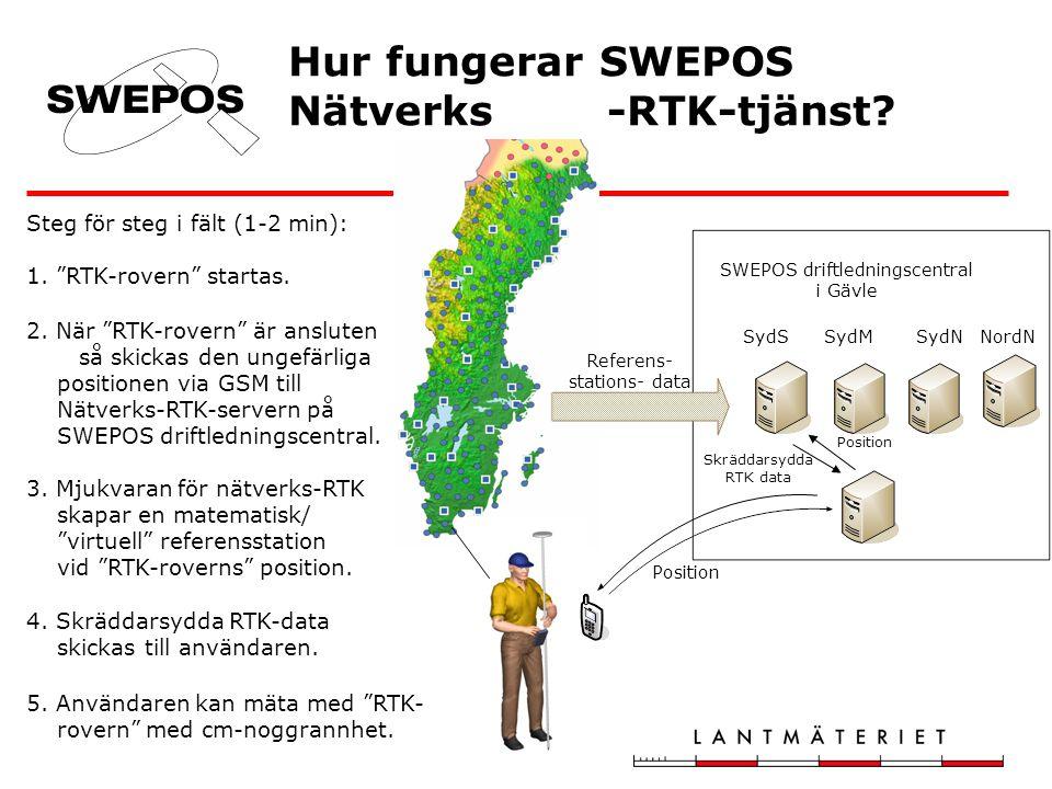 Hur fungerar SWEPOS Nätverks -RTK-tjänst? SWEPOS driftledningscentral i Gävle Position Skräddarsydda RTK data Referens- stations- data Steg för steg i