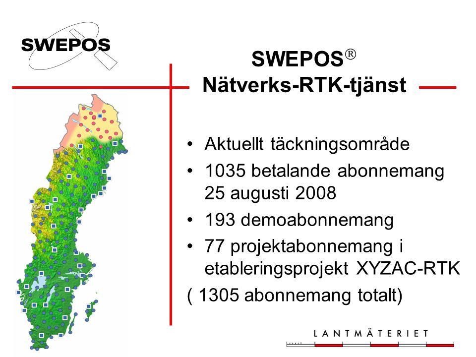 SWEPOS  Nätverks-RTK-tjänst •Aktuellt täckningsområde •1035 betalande abonnemang 25 augusti 2008 •193 demoabonnemang •77 projektabonnemang i etableri