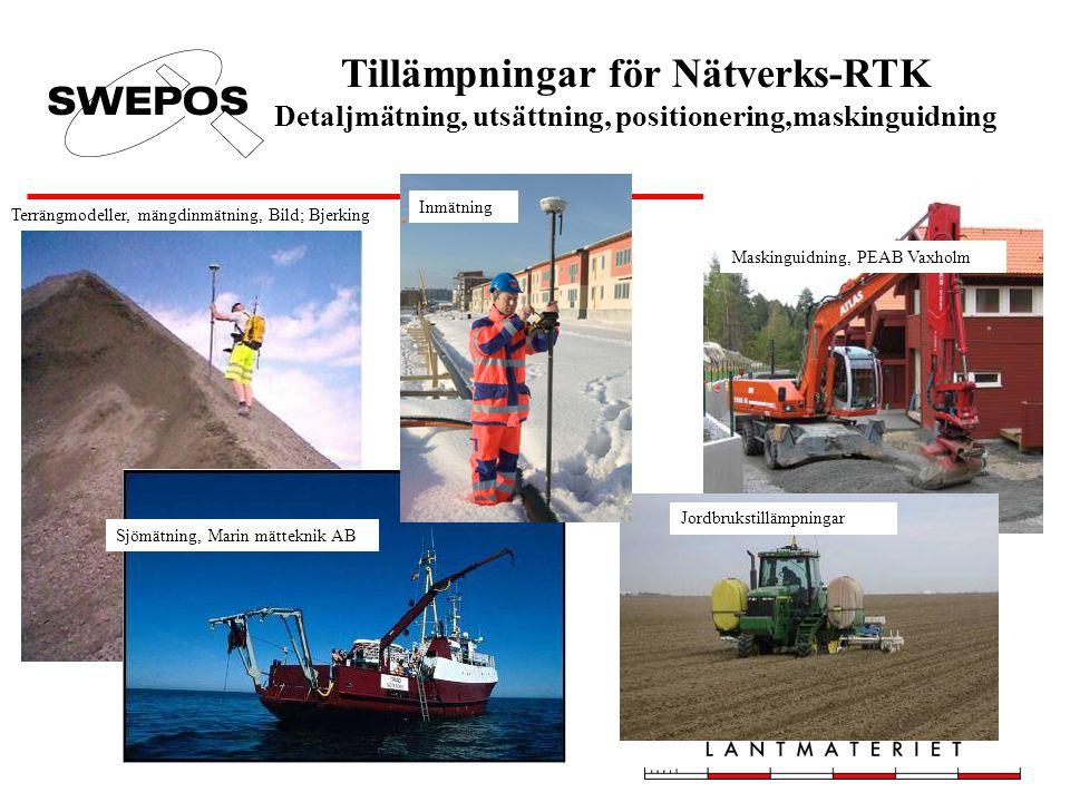 Tillämpningar för Nätverks-RTK Detaljmätning, utsättning, positionering,maskinguidning Sjömätning, Marin mätteknik AB Maskinguidning, PEAB Vaxholm Jor