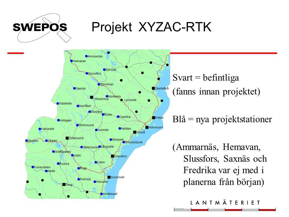 Projekt XYZAC-RTK Svart = befintliga (fanns innan projektet) Blå = nya projektstationer (Ammarnäs, Hemavan, Slussfors, Saxnäs och Fredrika var ej med