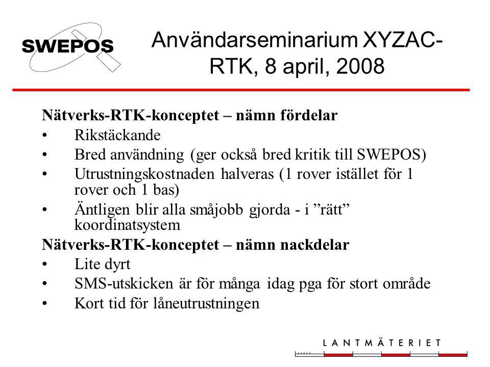 Användarseminarium XYZAC- RTK, 8 april, 2008 Nätverks-RTK-konceptet – nämn fördelar •Rikstäckande •Bred användning (ger också bred kritik till SWEPOS)