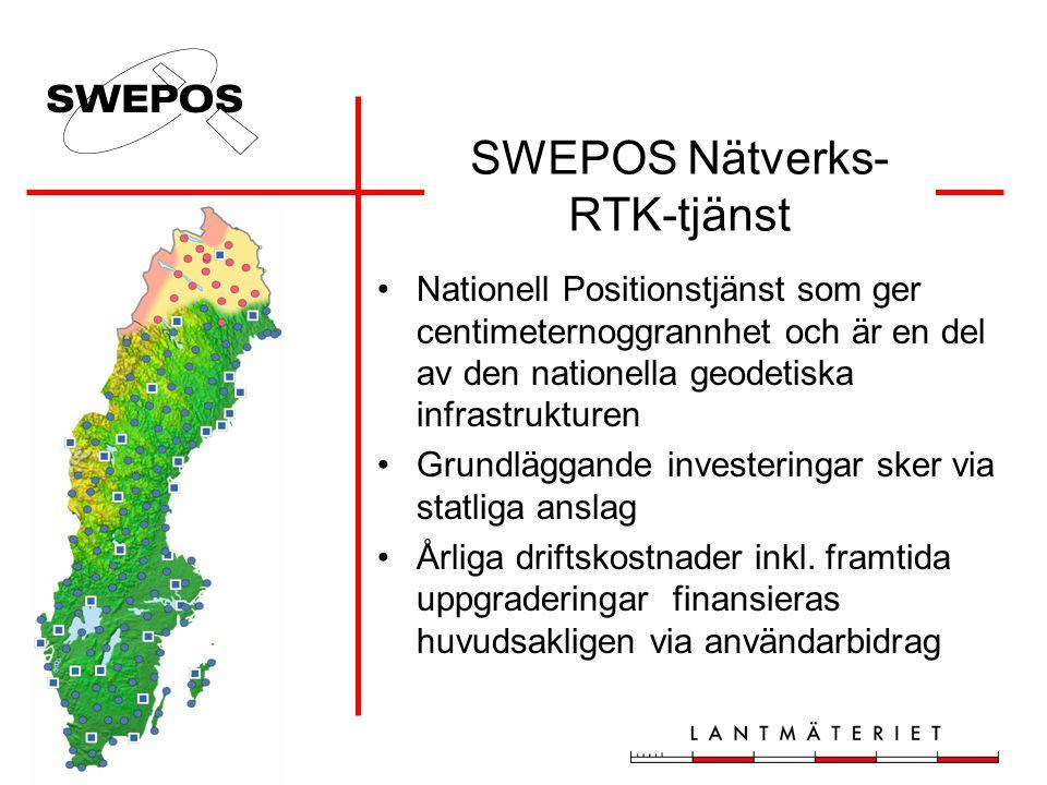 SWEPOS Nätverks- RTK-tjänst •Nationell Positionstjänst som ger centimeternoggrannhet och är en del av den nationella geodetiska infrastrukturen •Grund