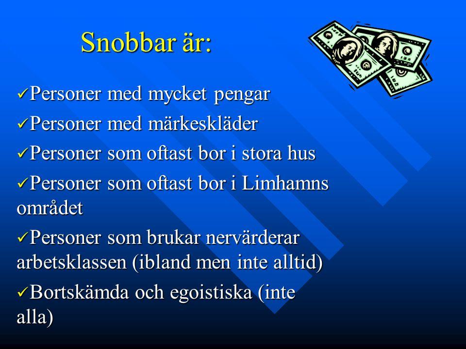 Snobbar är:  Personer med mycket pengar  Personer med märkeskläder  Personer som oftast bor i stora hus  Personer som oftast bor i Limhamns område