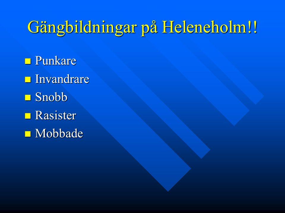 Gängbildningar på Heleneholm!!  Punkare  Invandrare  Snobb  Rasister  Mobbade