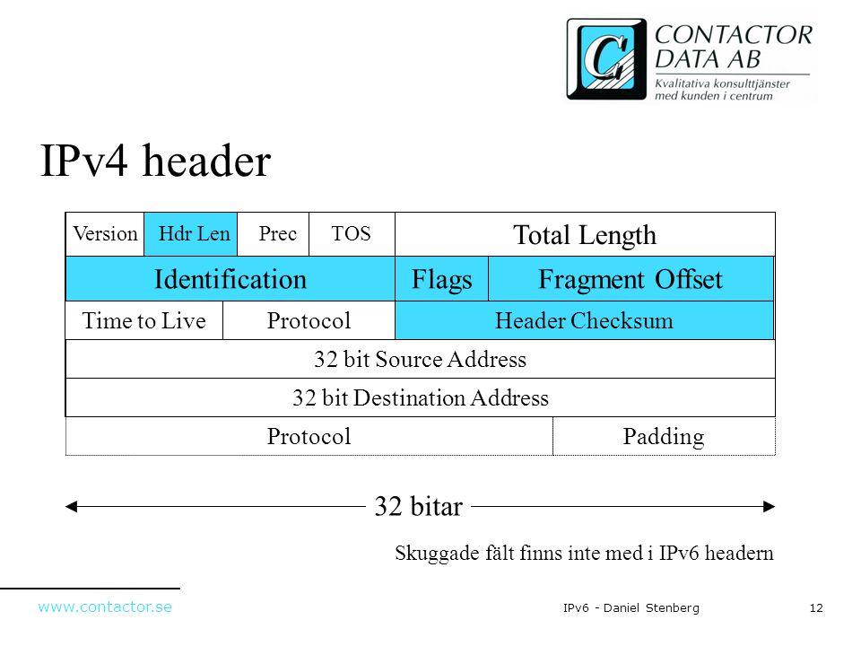 www.contactor.se 12IPv6 - Daniel Stenberg IPv4 header 32 bitar Fragment Offset Total Length IdentificationFlags VersionHdr LenPrecTOS ProtocolTime to