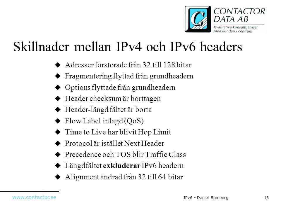 www.contactor.se 13IPv6 - Daniel Stenberg Skillnader mellan IPv4 och IPv6 headers  Adresser förstorade från 32 till 128 bitar  Fragmentering flyttad
