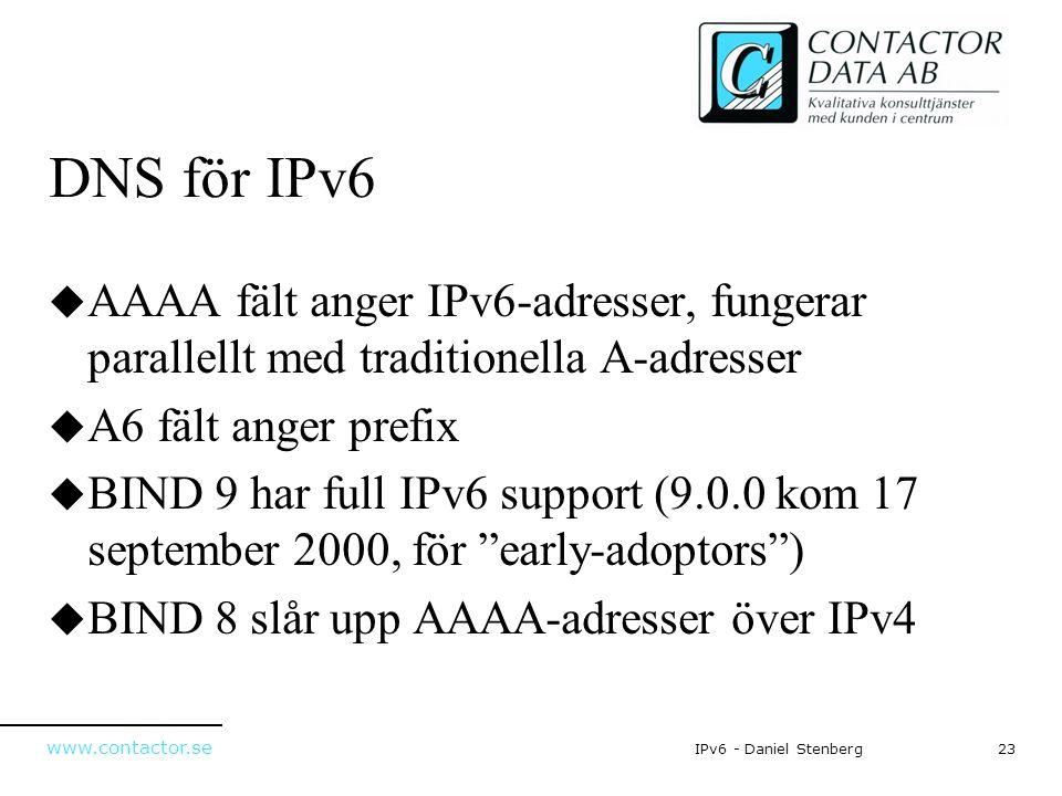 www.contactor.se 23IPv6 - Daniel Stenberg DNS för IPv6  AAAA fält anger IPv6-adresser, fungerar parallellt med traditionella A-adresser  A6 fält ang