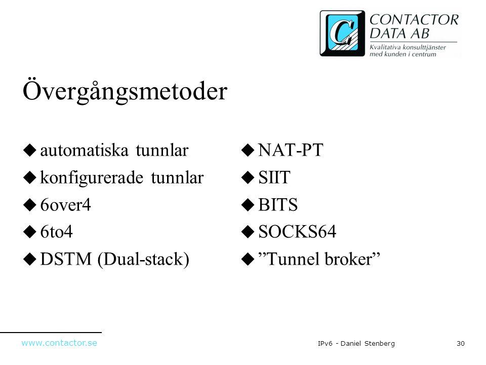 www.contactor.se 30IPv6 - Daniel Stenberg Övergångsmetoder  automatiska tunnlar  konfigurerade tunnlar  6over4  6to4  DSTM (Dual-stack)  NAT-PT