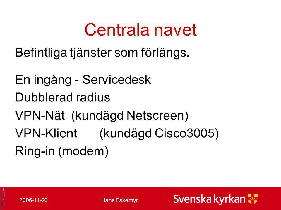 Hans Eskemyr2006-11-20 TS OH A (2005-08) Centrala navet Äldre tjänster som migreras till nya standard tjänster.