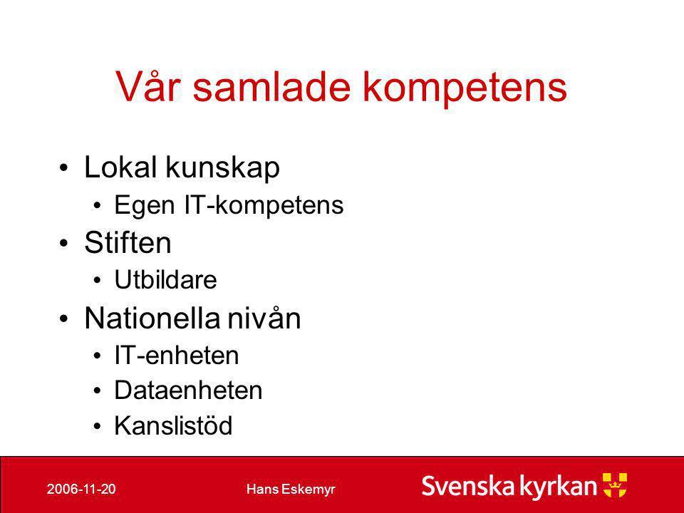 Hans Eskemyr2006-11-20 Kompetensprojekt • en särskild IT-satsning för att förbättra verksamhetsnyttan av IT i Svenska kyrkan genom kompetenshöjning, tillhandahållande av verktyg lokalt samt säkerhetsarbete.