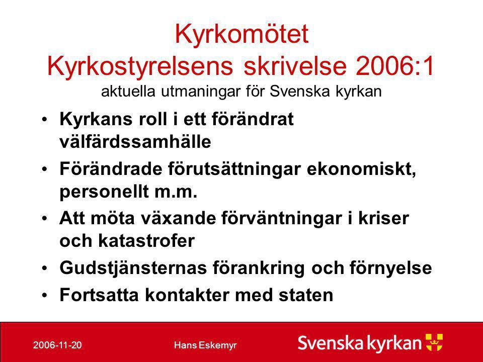 Hans Eskemyr2006-11-20 Kompetenshöjning • Kyrkoskrivare • Vaktmästare • Kanslichefer • Präster • Diakoner • Kyrkomusiker • IT-specialister m fl
