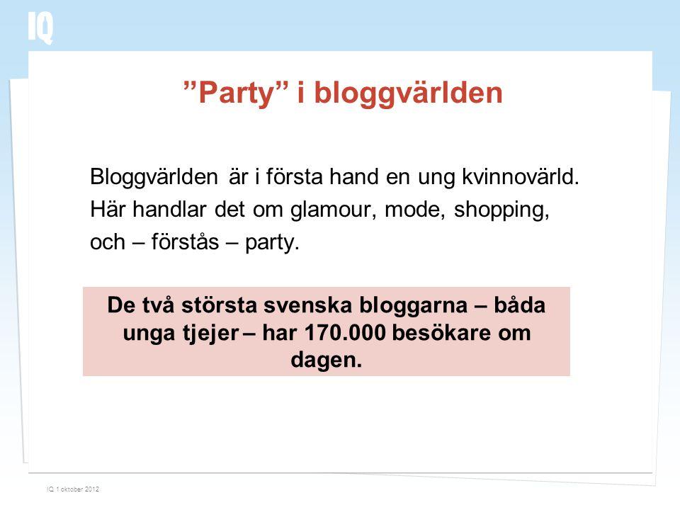 """""""Party"""" i bloggvärlden Bloggvärlden är i första hand en ung kvinnovärld. Här handlar det om glamour, mode, shopping, och – förstås – party. IQ 1 oktob"""