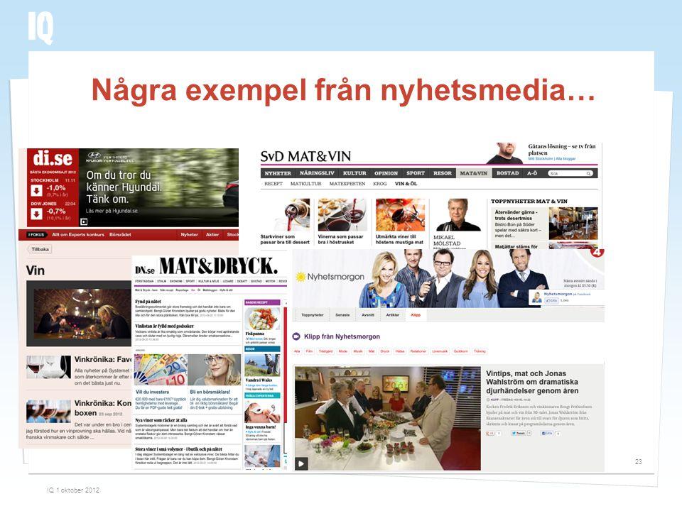 Några exempel från nyhetsmedia… IQ 1 oktober 2012 23