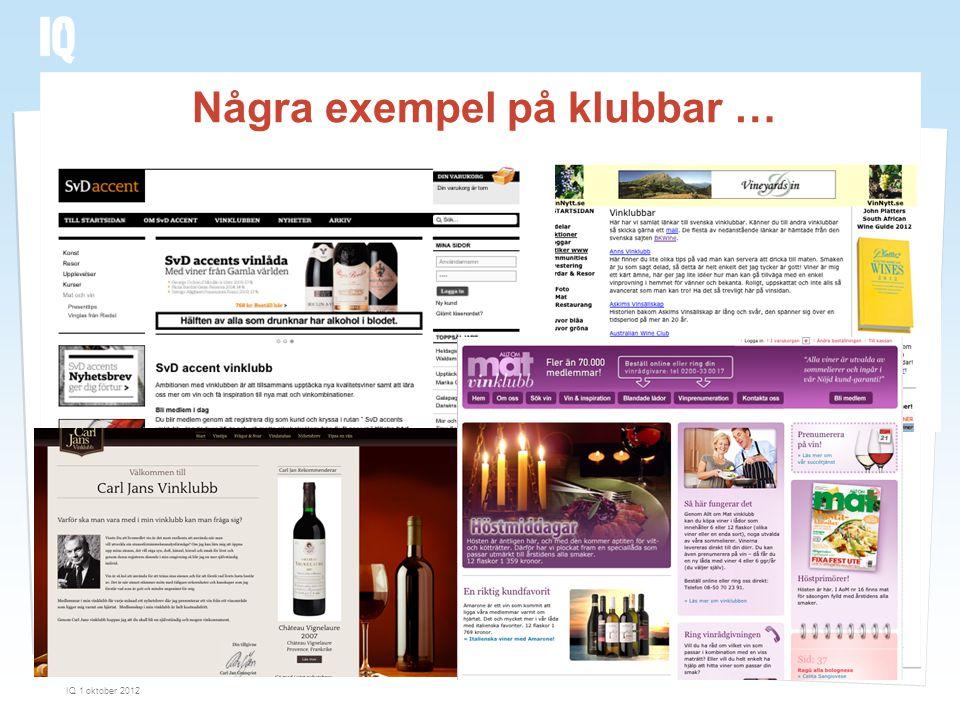 Några exempel på klubbar … IQ 1 oktober 2012 27
