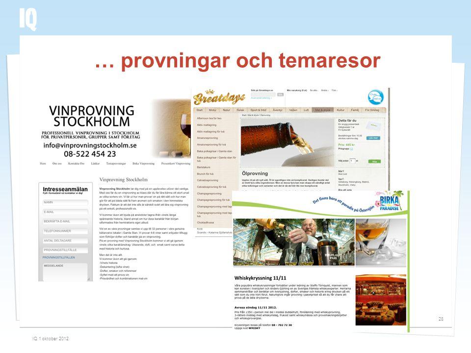 … provningar och temaresor IQ 1 oktober 2012 28