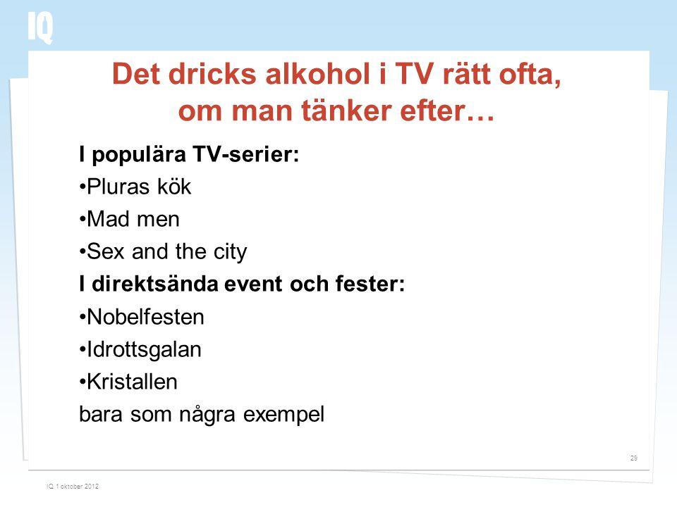 Det dricks alkohol i TV rätt ofta, om man tänker efter… I populära TV-serier: •Pluras kök •Mad men •Sex and the city I direktsända event och fester: •