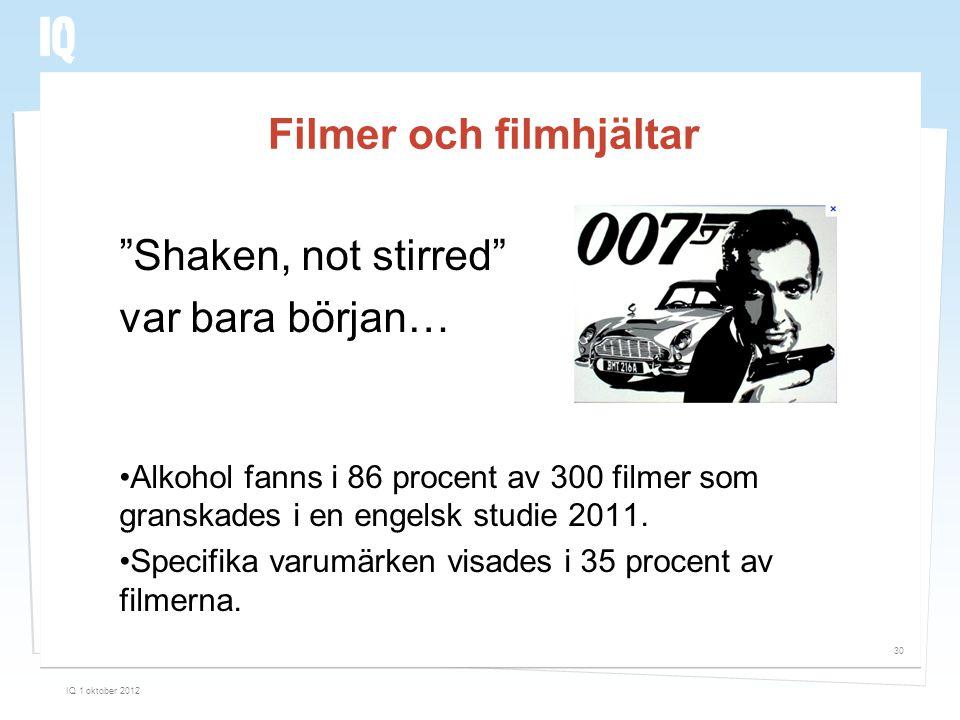 """Filmer och filmhjältar """"Shaken, not stirred"""" var bara början… •Alkohol fanns i 86 procent av 300 filmer som granskades i en engelsk studie 2011. •Spec"""