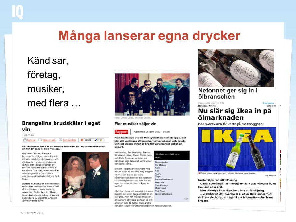 Många lanserar egna drycker Kändisar, företag, musiker, med flera … IQ 1 oktober 2012 31