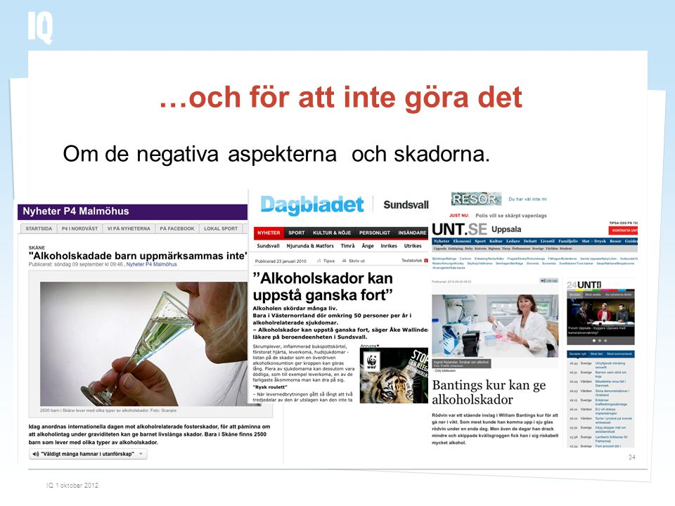 …och för att inte göra det IQ 1 oktober 2012 34 Om de negativa aspekterna och skadorna.