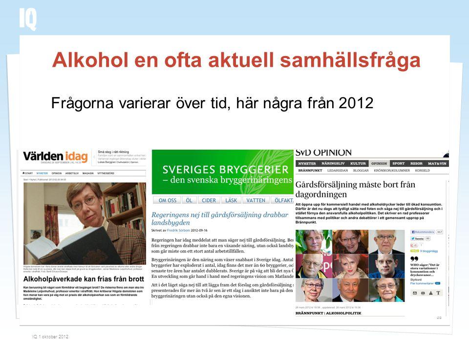 Alkohol en ofta aktuell samhällsfråga IQ 1 oktober 2012 38 Frågorna varierar över tid, här några från 2012