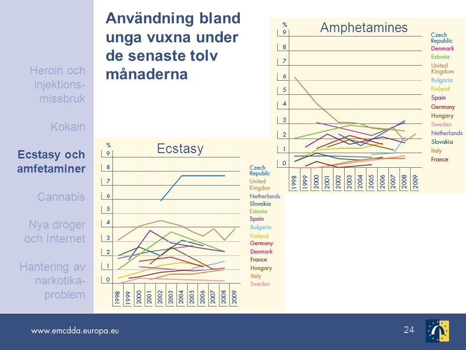 24 Användning bland unga vuxna under de senaste tolv månaderna Ecstasy Amphetamines Heroin och injektions- missbruk Kokain Ecstasy och amfetaminer Cannabis Nya droger och Internet Hantering av narkotika- problem