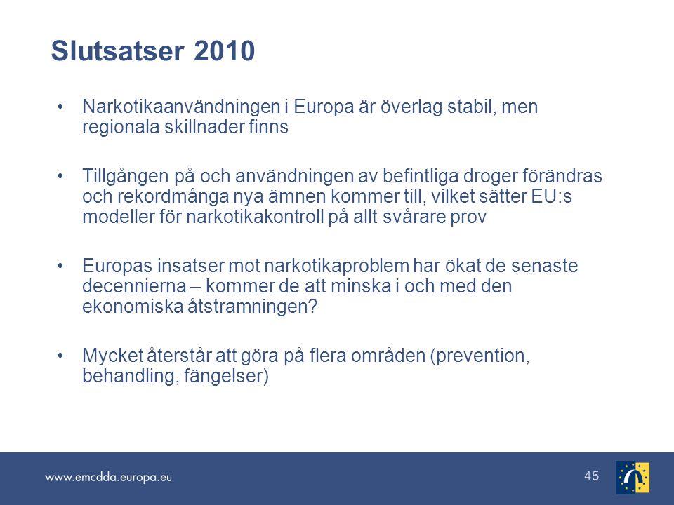 45 Slutsatser 2010 •Narkotikaanvändningen i Europa är överlag stabil, men regionala skillnader finns •Tillgången på och användningen av befintliga droger förändras och rekordmånga nya ämnen kommer till, vilket sätter EU:s modeller för narkotikakontroll på allt svårare prov •Europas insatser mot narkotikaproblem har ökat de senaste decennierna – kommer de att minska i och med den ekonomiska åtstramningen.