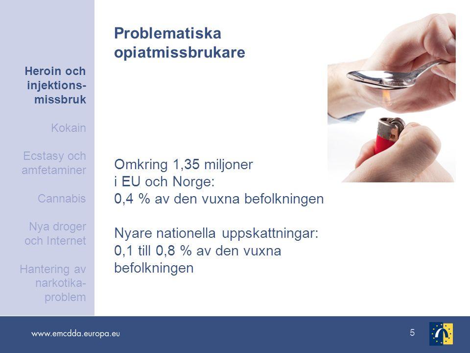5 Omkring 1,35 miljoner i EU och Norge: 0,4 % av den vuxna befolkningen Nyare nationella uppskattningar: 0,1 till 0,8 % av den vuxna befolkningen Problematiska opiatmissbrukare Heroin och injektions- missbruk Kokain Ecstasy och amfetaminer Cannabis Nya droger och Internet Hantering av narkotika- problem