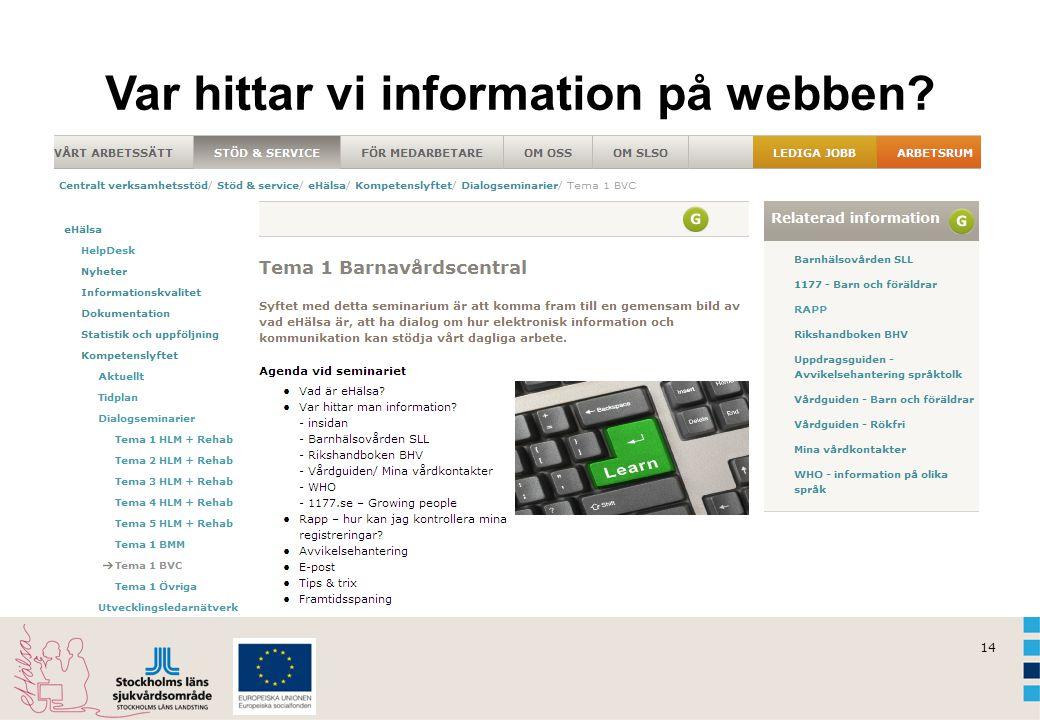 14 Var hittar vi information på webben?