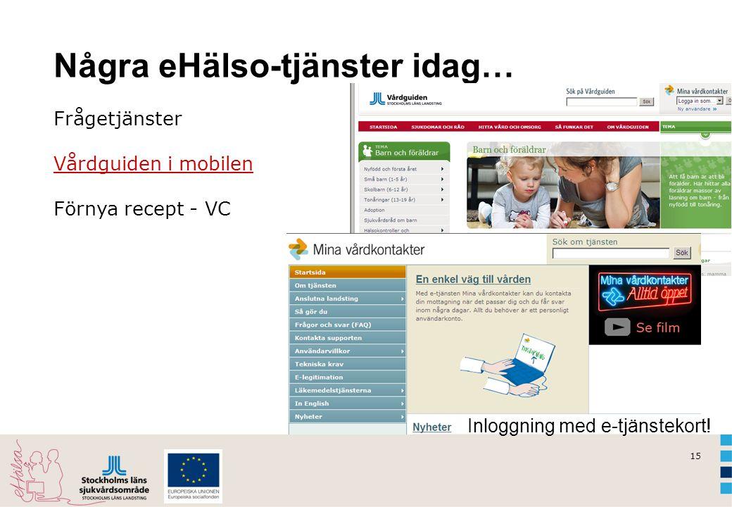 15 Några eHälso-tjänster idag… Frågetjänster Vårdguiden i mobilen Förnya recept - VC Inloggning med e-tjänstekort!