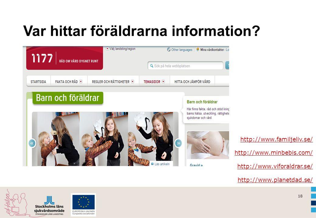 18 Var hittar föräldrarna information? http://www.familjeliv.se/ http://www.minbebis.com/ http://www.viforaldrar.se/ http://www.planetdad.se/