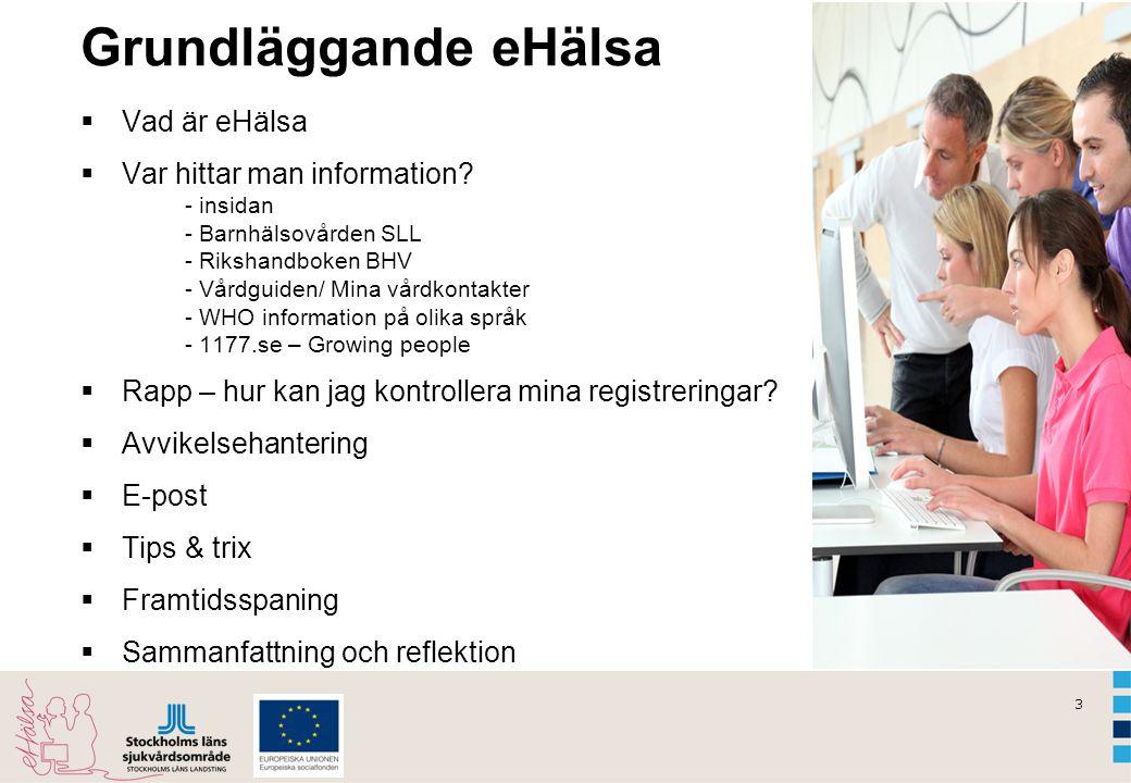 3 Grundläggande eHälsa  Vad är eHälsa  Var hittar man information? - insidan - Barnhälsovården SLL - Rikshandboken BHV - Vårdguiden/ Mina vårdkontak