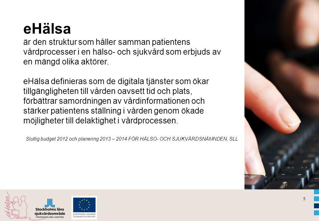 5 Slutlig budget 2012 och planering 2013 – 2014 FÖR HÄLSO- OCH SJUKVÅRDSNÄMNDEN, SLL eHälsa är den struktur som håller samman patientens vårdprocesser