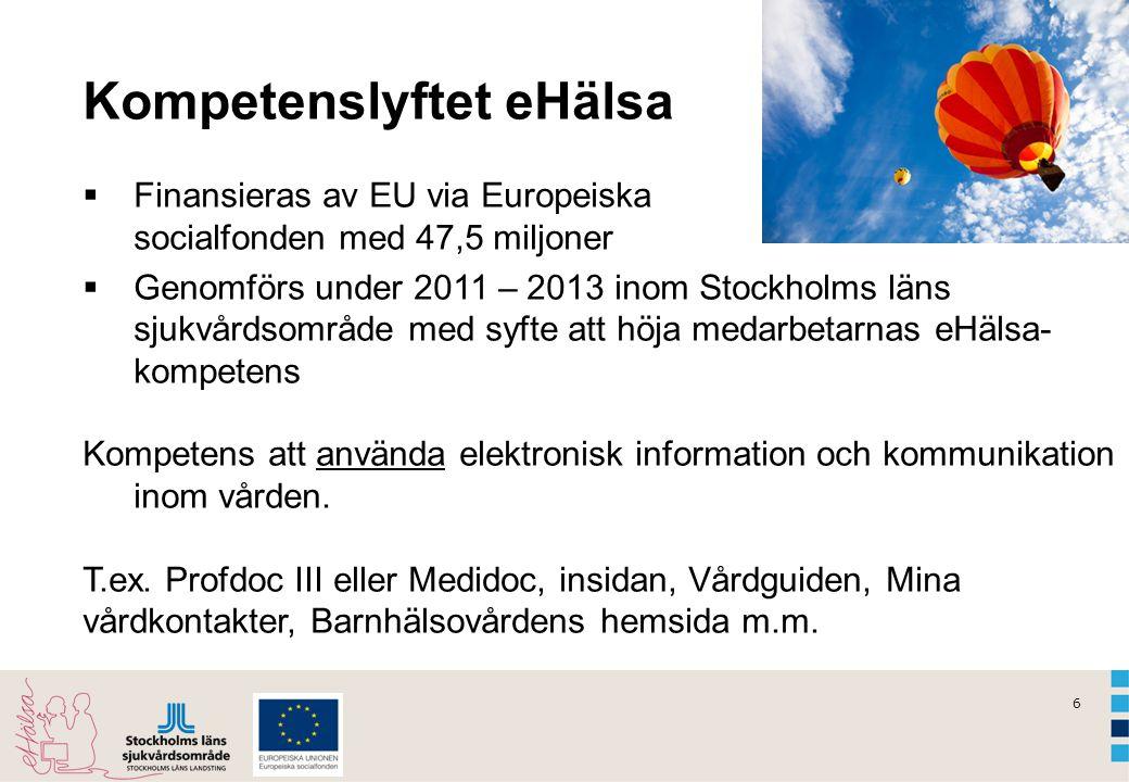 6 Kompetenslyftet eHälsa  Finansieras av EU via Europeiska socialfonden med 47,5 miljoner  Genomförs under 2011 – 2013 inom Stockholms läns sjukvård