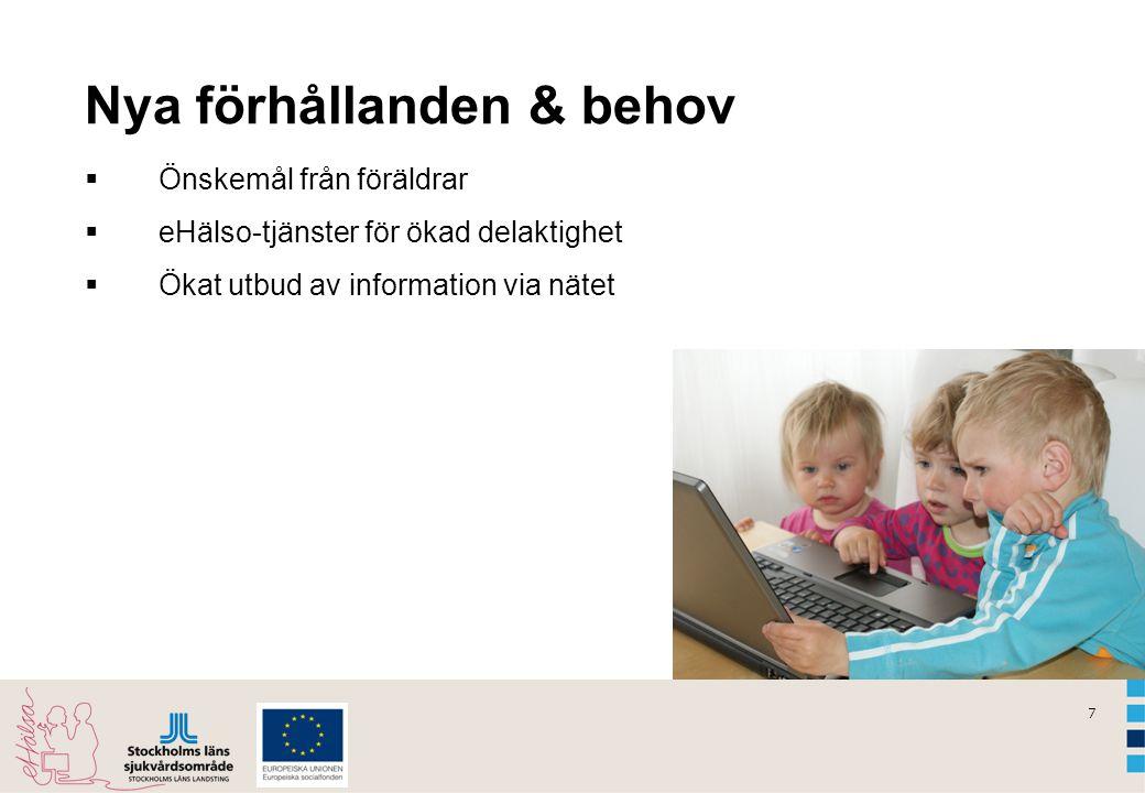 7 Nya förhållanden & behov  Önskemål från föräldrar  eHälso-tjänster för ökad delaktighet  Ökat utbud av information via nätet
