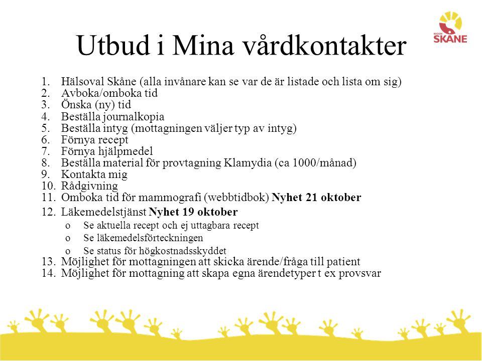 Utbud i Mina vårdkontakter 1.Hälsoval Skåne (alla invånare kan se var de är listade och lista om sig) 2.Avboka/omboka tid 3.Önska (ny) tid 4.Beställa