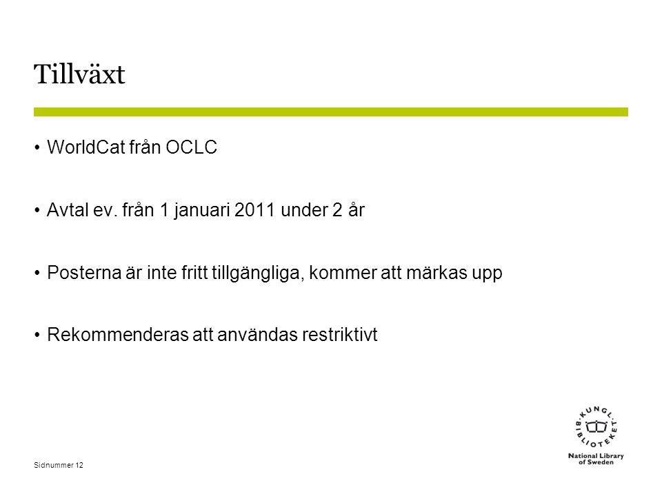 Sidnummer 12 Tillväxt •WorldCat från OCLC •Avtal ev. från 1 januari 2011 under 2 år •Posterna är inte fritt tillgängliga, kommer att märkas upp •Rekom