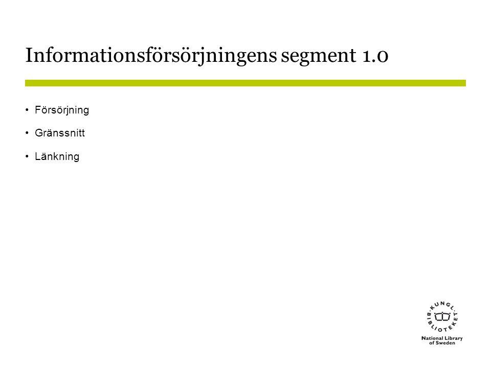 Informationsförsörjningens segment 1.0 •Försörjning •Gränssnitt •Länkning