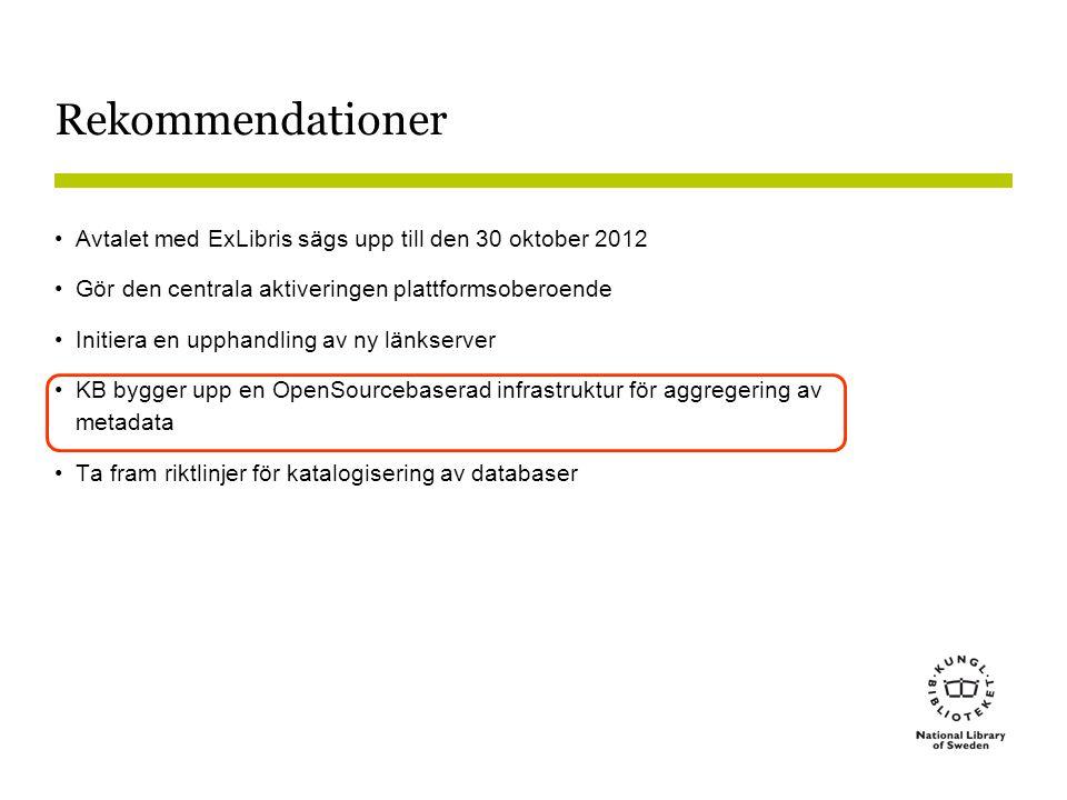 Rekommendationer •Avtalet med ExLibris sägs upp till den 30 oktober 2012 •Gör den centrala aktiveringen plattformsoberoende •Initiera en upphandling a