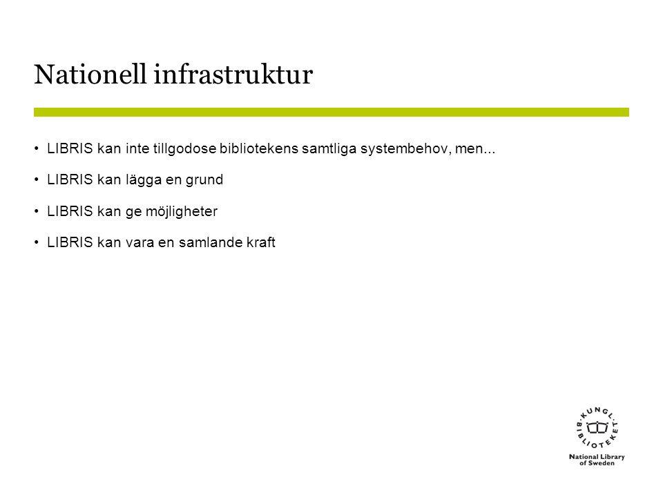 Nationell infrastruktur •LIBRIS kan inte tillgodose bibliotekens samtliga systembehov, men... •LIBRIS kan lägga en grund •LIBRIS kan ge möjligheter •L