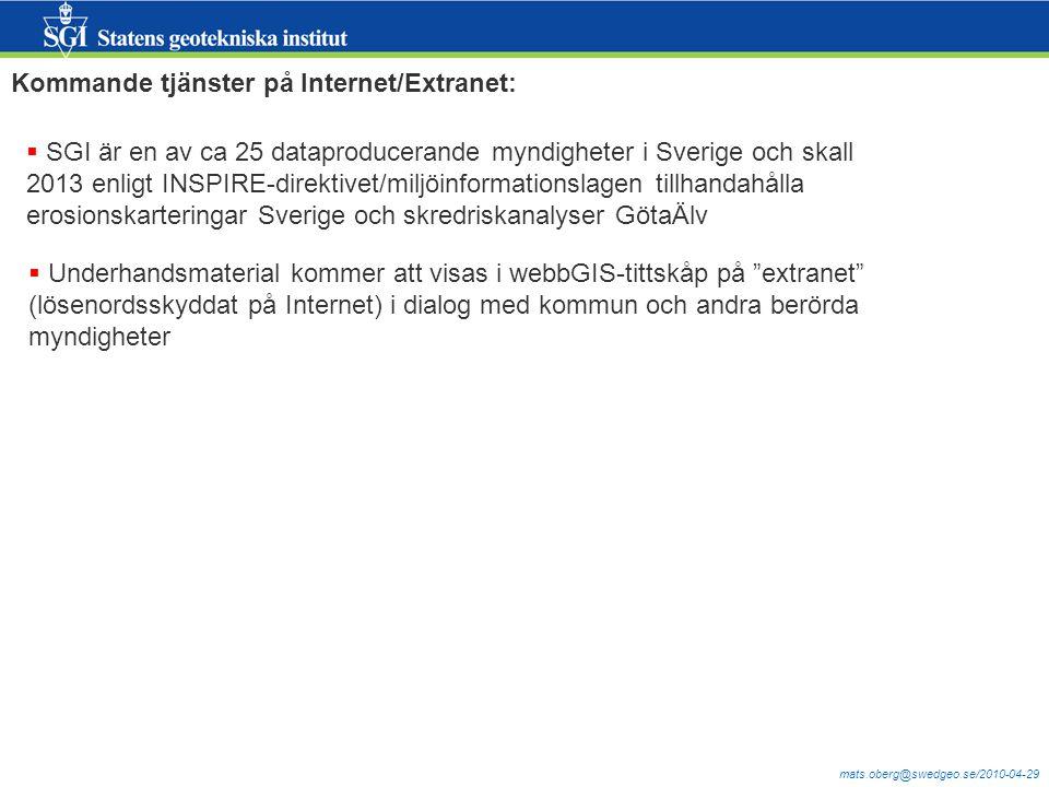 mats.oberg@swedgeo.se/2010-04-29 Kommande tjänster på Internet/Extranet:  SGI är en av ca 25 dataproducerande myndigheter i Sverige och skall 2013 en