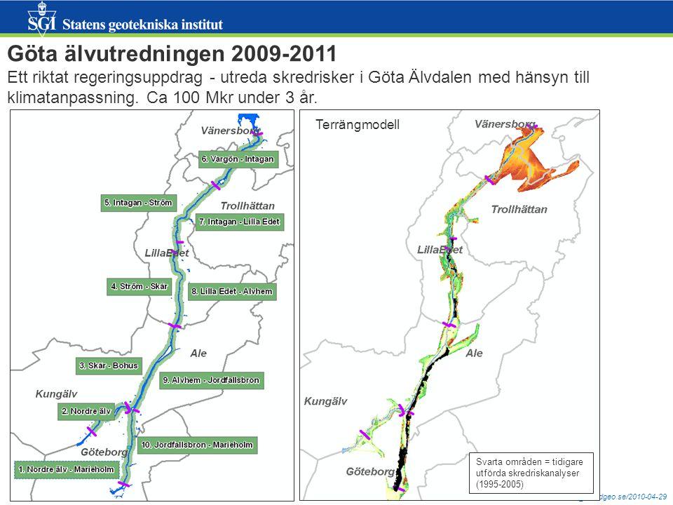 mats.oberg@swedgeo.se/2010-04-29 Skred, ett 3D-problem… Topografi Geologi Hydrologi Tuve 1977 Småröd 2006 SGI är myndighet och FoU-organisation, ca 100 anställda Kontor: Link, Gbg, Malmö, Sundsvall, Borlänge, Sthlm Jordskred Sicilien feb2010 - http://www.aftonbladet.se/webbtv/nyheter/utrikes/article6613006.abhttp://www.aftonbladet.se/webbtv/nyheter/utrikes/article6613006.ab