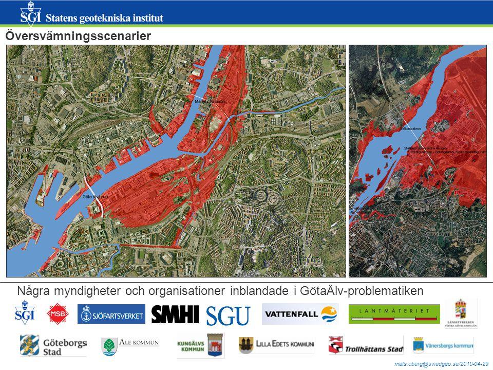 mats.oberg@swedgeo.se/2010-04-29 Översvämningsscenarier Några myndigheter och organisationer inblandade i GötaÄlv-problematiken